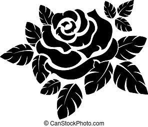 Rose silhouette - Vector sose silhouette isolated on white...