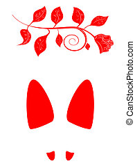 woman footprint with rose - illustration of the red woman...