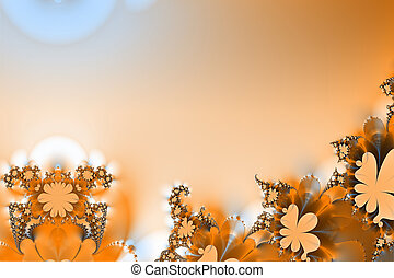 Flowery border template - Fractal abstract shapes and lines...