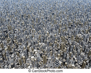 Overpopulation - Computer generated 3D illustration with a...