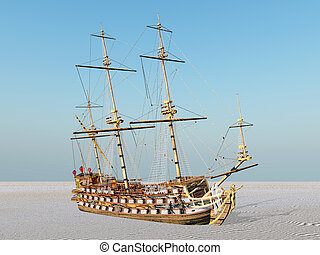 Sailing Ship on the Dry