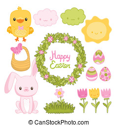 Happy Easter set with cartoon cute bunny, chicken, eggs, wreath, flowers