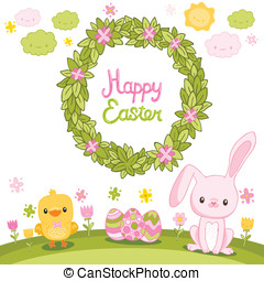 Happy Easter background with cartoon cute bunny, wreath and chicken