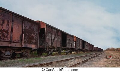 Old train with cargo containers