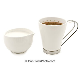 Coffee and cream over the white background