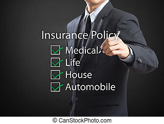 life insurance policy - Business man writing life insurance...
