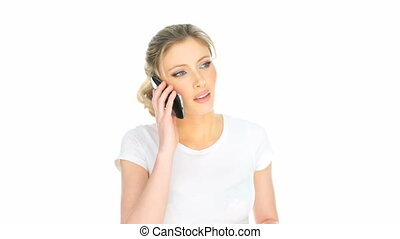 happy woman having mobile phone conversation