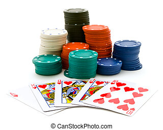 casino - Set of the playing chips and cards at the white...