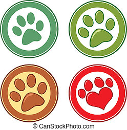Dog Paw In Circle Set Collection - Dog Paw In Circle...