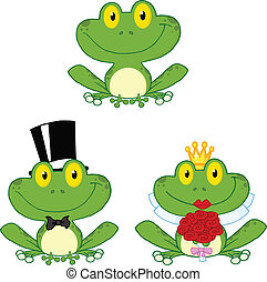 Happy Small Frogs Set Collection - Happy Small Frogs Cartoon...