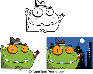 Mobster Frog Set Collection - Mobster Frog Cartoon Character...
