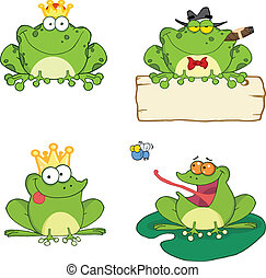 Frogs Characters 1 Set Collection - Happy Frogs Cartoon...