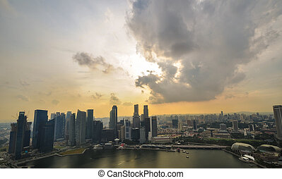 Singapore city skyline finacial district