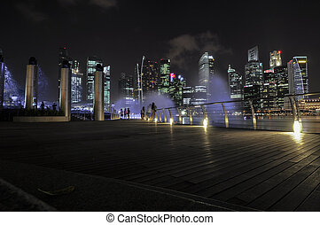 Singapore city skyline finacial district at night with light