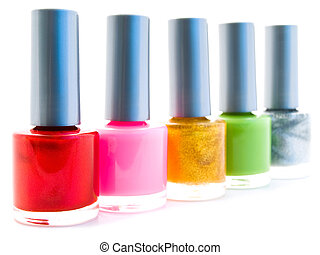 nail polish - different color nail varnish bottles over...