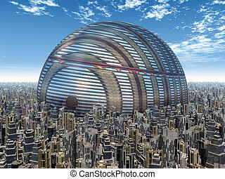Futuristic City - Computer generated 3D illustration with a...