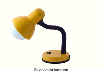 Desk lamp - Yellow luminescent desk lamp on white background