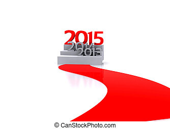 New year - 3D illustration - Here comes the new year 2015...
