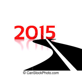 New Year - 3D illustration - the road leading to the New...