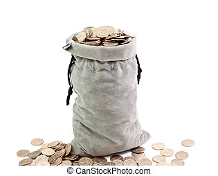 bag of coins - a bag full to the brim full of coins