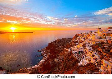Santorini Greece - Oia Santorini Greece famous with romantic...