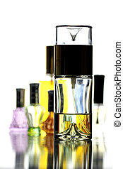 Many Bottle with Gold Perfume color isolated. - Many Bottle...