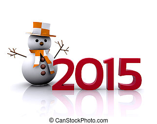 New year 2015 - 3D illustration - snowman to welcome the new...