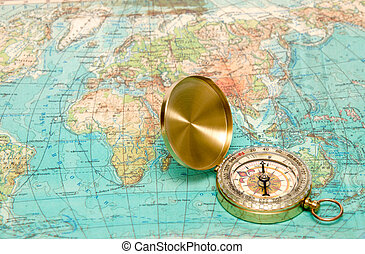 Compass with map - Gold modern compass and old map