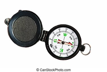 black compass - Tourist compass on a white background