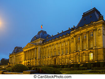 The Royal Palace of Brussels at night, Belgium