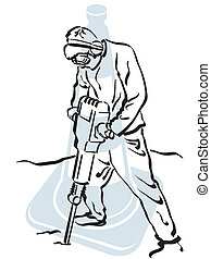 Road worker - illustration of a road worker to work