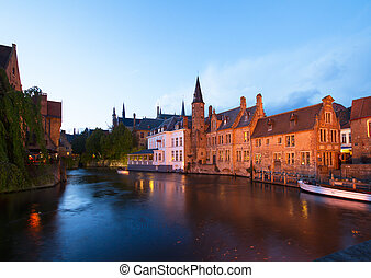 night scene of old Brugge - night scene of old town with...
