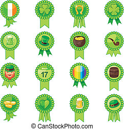 Saint Patrick Day Badges Set - Badges set with Saint Patrick...