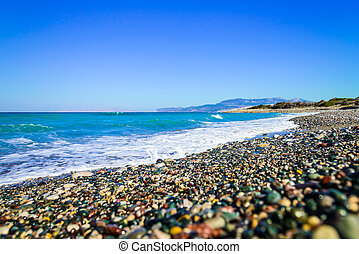 deserted beach sea - landscape pebble deserted beach on the...