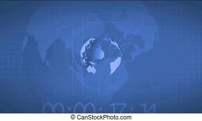 Broadcast news intro opening, earth globe animated rotation.