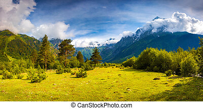 Fantastic landscape in the Caucasus mountains. Upper...