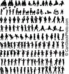 Large collection of children's silhouettes , vector work.