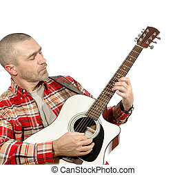 man playing guitar on a white background
