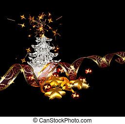 Christmas stars,balls and fur-tree on a black background