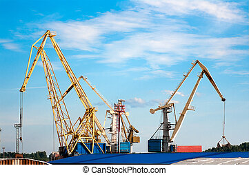 cargo cranes in the port of