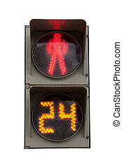 red signal of a traffic light in isolation