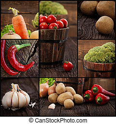 Organic vegetables collage - Restaurant series. Collage of...