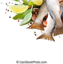 Fish. - Fresh fish with spices and herbs on a kitchen...