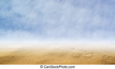Desert land with brown sand composite video, blue sky with...