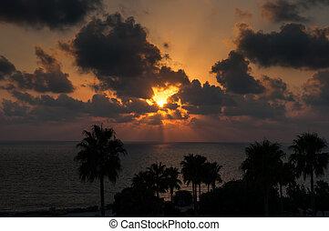 sunset sea - Evening sunset on the sea