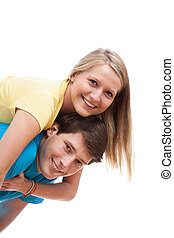 Enamored pair - Young enamored pair on white isolated...