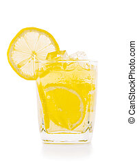 lemon with ice in glass on a white background