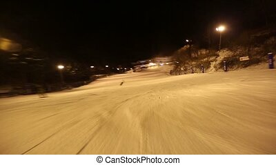 Skiing POV Glide - POV glidecam shot of skiing down a...