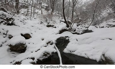 Snowy Korean Mountains - Video and audio of a snowy creek...