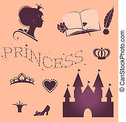 Princess set - Beautiful princess set for girls on pink...